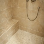 Shower seat and pebble tile floor